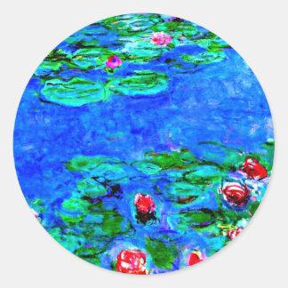 La peinture célèbre de Monet, nénuphars (macro Sticker Rond
