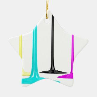 La peinture de CMYK versent sur le blanc Ornement Étoile En Céramique