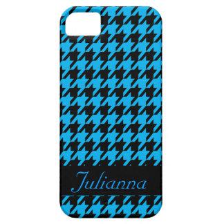 La personnaliser bleue d'Aqua de pied-de-poule de Coques iPhone 5 Case-Mate