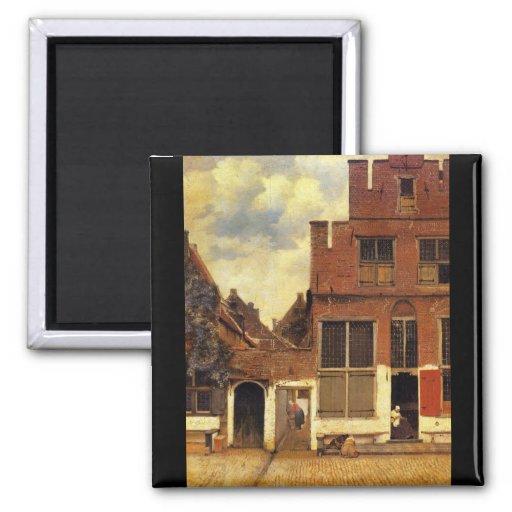 La petite rue par Johannes Vermeer Magnets Pour Réfrigérateur