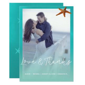 La photo bleue d'étoiles de mer d'aqua de mariage carton d'invitation  12,7 cm x 17,78 cm