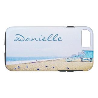 """La photo de plage de ciel bleu """"votre nom ici"""" coque iPhone 7"""