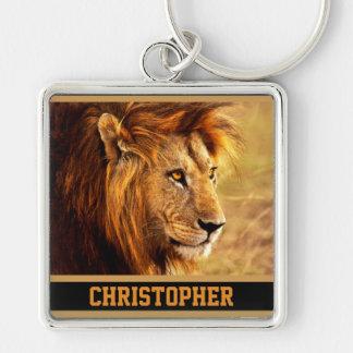 La photographie noble de lion porte-clé carré argenté