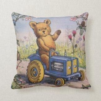 Coussin pour enfant Nounours sur son Tracteur