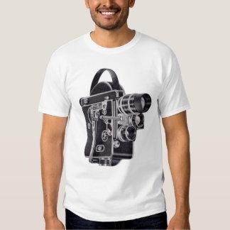 La pièce en t vintage des femmes bleues de caméra t-shirts