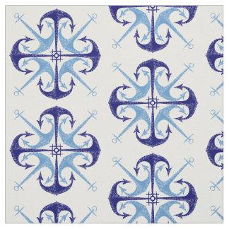La pièce vintage du garçon nautique d'ancre bleue tissu