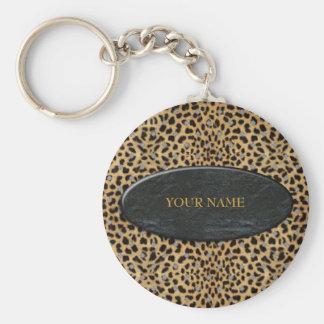 La pierre de léopard de porte - clé ajoutent votre porte-clé rond