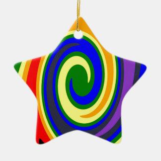 La pirouette ondule l'arc-en-ciel de couleurs, ornement étoile en céramique