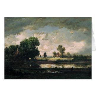 La piscine avec un ciel orageux, c.1865-7 carte de vœux