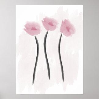 La pivoine rose d'aquarelle fleurit l'affiche poster
