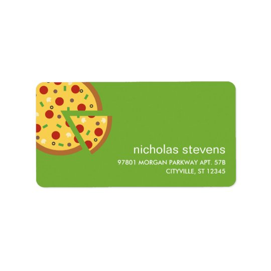 La pizza découpe des étiquettes de adresse en tran