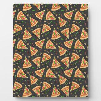 La pizza découpe l'arrière - plan en tranches plaque d'affichage