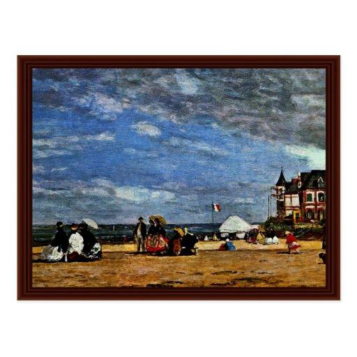 La plage chez Trouville par Boudin Eugène Carte Postale