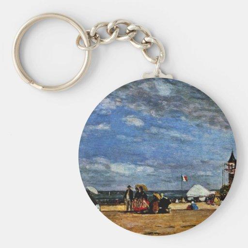 La plage chez Trouville par Boudin Eugène Porte-clefs