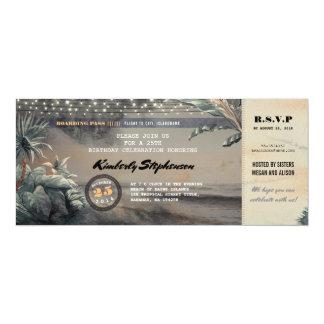 La plage de carte d'embarquement allume le billet carton d'invitation  10,16 cm x 23,49 cm