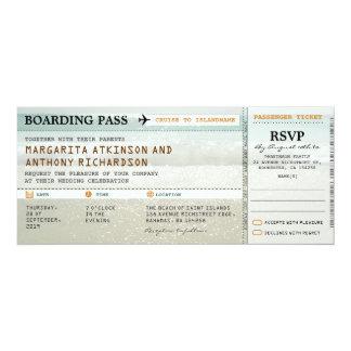 la plage de carte d'embarquement ondule des carton d'invitation  10,16 cm x 23,49 cm