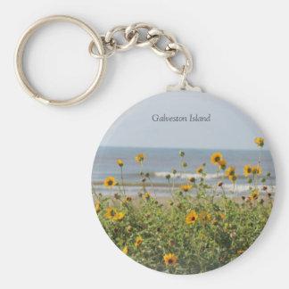 La plage d'île de Galveston fleurit le porte - clé Porte-clés
