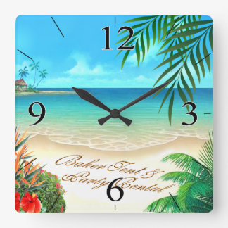 La plage exotique ME DEMANDENT DE DESSINER VOS Horloge Carrée