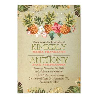 la plage tropicale d'ananas allume le mariage carton d'invitation  12,7 cm x 17,78 cm