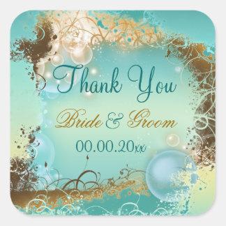 """La plage """"vous remercient"""" blanc d'aqua de mariage autocollants carrés"""