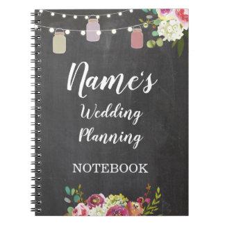 La planification rustique de mariage de carnet