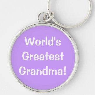 La plus grande grand-maman du monde ! porte-clé rond argenté