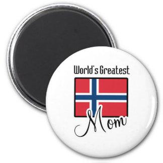 La plus grande maman de la Norvège du monde Magnet Rond 8 Cm