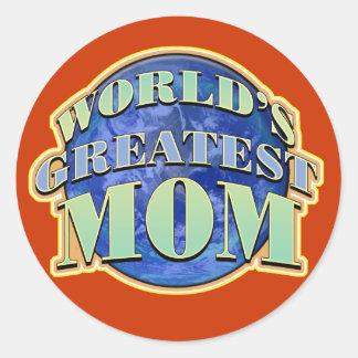 La plus grande maman des mondes autocollants ronds