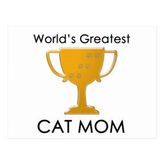 La plus grande maman du chat du monde carte postale