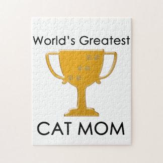 La plus grande maman du chat du monde puzzle avec photo
