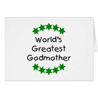 La plus grande marraine du monde (étoiles de vert) cartes de vœux