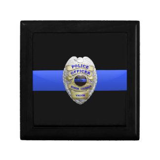 La police Badge et la boîte en laiton de gardien Petite Boîte À Bijoux Carrée