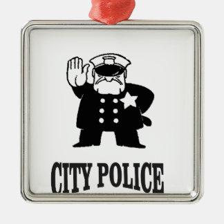 la police de ville équipe ornement carré argenté