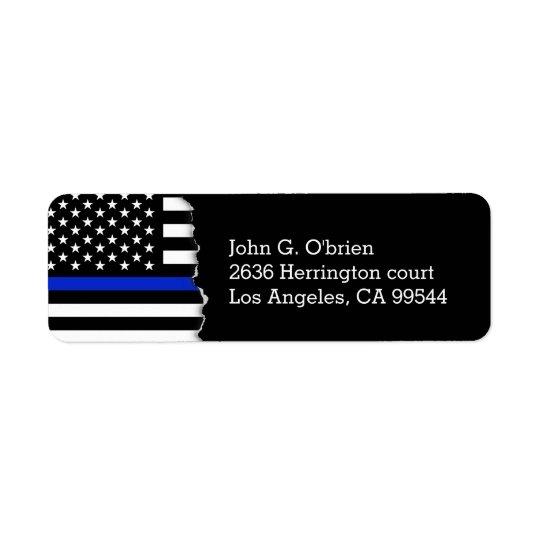 La police dénomme le drapeau américain étiquettes d'adresse retour