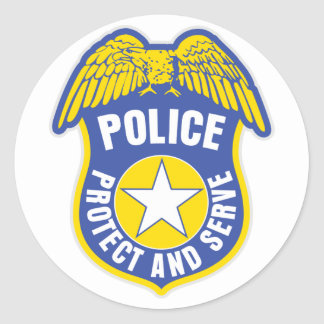 La police protège et sert l'insigne sticker rond