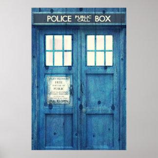 La police vintage téléphone la cabine téléphonique poster