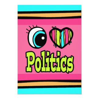 La politique lumineuse d'amour du coeur I d'oeil Carton D'invitation 12,7 Cm X 17,78 Cm