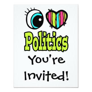 La politique lumineuse d'amour du coeur I d'oeil Carton D'invitation 10,79 Cm X 13,97 Cm
