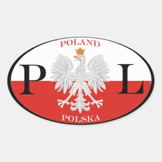 La Pologne Polska PL Sticker Ovale