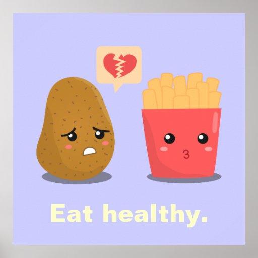 La pomme de terre est coeur brisé au-dessus des po affiche