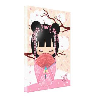 "La poupée rêveuse 18"" de Kokeshi x 24"" a enveloppé Toiles"