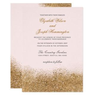 La poussière de scintillement de FAUX rougissent Carton D'invitation 12,7 Cm X 17,78 Cm