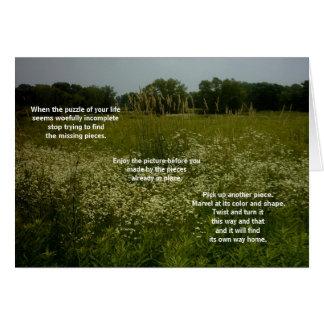 La prairie fleurit la carte avec le poème de