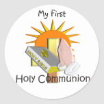 La première sainte communion badine des cadeaux sticker rond