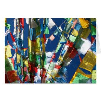 La prière tibétaine marque la carte de voeux (le