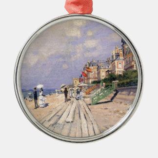 La promenade chez Trouville Claude Monet Ornement Rond Argenté