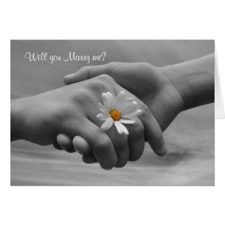 La proposition, m'épousent carte avec les mains et