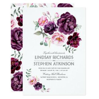 La prune Bourgogne et rougissent mariage floral Carton D'invitation 12,7 Cm X 17,78 Cm