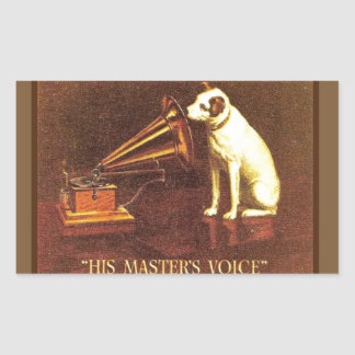 La publicité vintage, la voix de son maître sticker rectangulaire