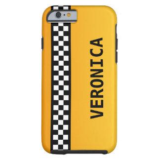 """La rayure jaune de taxi """"ajoutent votre nommé """" coque iPhone 6 tough"""